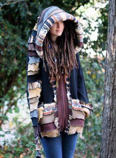Reserved for Ava Lua Balance for Custom Recycled Sweater Coat Hoodie. Guy .Unisex Elf Large Hippie Grateful Dead Furthur. $80.00, via Etsy.