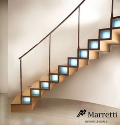 MARRETTI spiral staircase spiral stairs and banisters, staircase design production and selling,Wood Closed Structure Hanging staircases,Closed cantilever staircase with oak risers and banister in horizontal stainless steel rods.