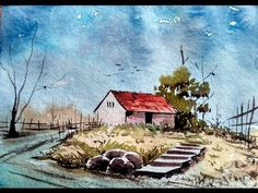 Pen and Wash Fall Farmhouse Watercolor Tutorial. Quick and Fun beginner Lessons. Peter Sheeler - YouTube
