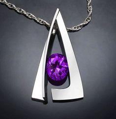 amethyst necklace - statement necklace - February birthstone - purple - Argentium silver pendant - modern jewelry - 3483