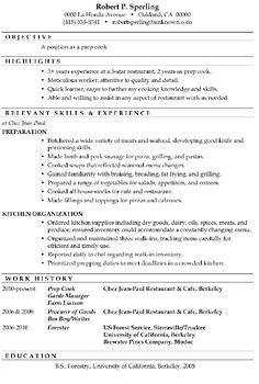 Line Cook Resumes Resume Examples Uk  Pinterest  Resume Examples