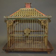 Antique Bird Cage. Tole and polychromed birdcage c. 19th century
