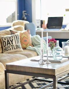 ahomefullofcolor: West Elm Inspired DIY coffee table revamp