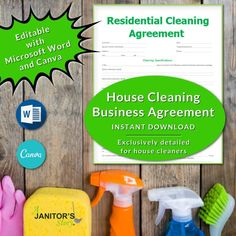This easy to edit housecleaning services business contract can be customized using MS Word or Canva. Add your logo, change the colors, and switch things around to fit the needs of your house cleaning business. Exclusively designed for Building Cleaning Services, Professional Cleaning Services, House Cleaning Checklist, Cleaning Contracts, Maid Cleaning Service, Cleaning Business, Office Cleaning, Cleaning Hacks, Business Signs