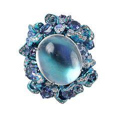 Arunashi moonstone ring with sapphires and diamonds set in titanium