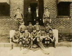 The Big Ben Blues factory team of Middlesboro, Ky., wore unique uniforms fashioned specifically to reflect the company's product line: Denim overalls. This photograph depicts the newly-formed 1924 baseball club dressed in their blue denim uniforms.