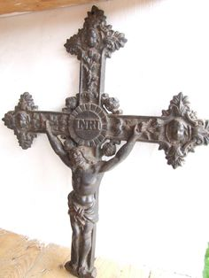 Cast Iron French Crucifix // large crucifix - pinned by pin4etsy.com