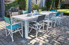 Table de jardin en aluminium Batang 205/335 x 101 cm blanc   Table ...