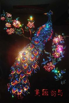 Swarovski Crystal Peacock Picture by Zinnie Jones Peacock Decor, Peacock Colors, Peacock Art, Peacock Design, Peacock Tattoo, Peacock Painting, Swarovski Crystal Figurines, Swarovski Crystals, Peacock Pictures