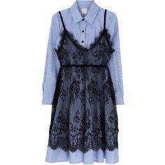 [SET] Striped Shirt Dress And Sheer Lace Slip Dress Set (€43) found on Polyvore featuring women's fashion, dresses, long-sleeve shirt dresses, rabbit print dress, long sleeve stripe dress, long shirt dress and stripe shirt dress