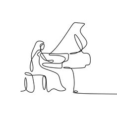 Continuous Drawing Line Playing The Piano Vector and PNG Music Drawings, Outline Drawings, Art Drawings Sketches, Easy Drawings, Drawing Piano, Piano Art, Minimalist Drawing, Minimalist Art, Music Illustration