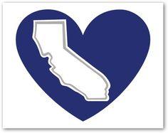Dodger Blue California Heart decal