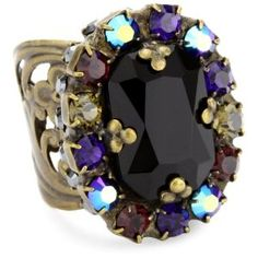 "Sorrelli ""Simply Divine"" Opaque Crystal Multi-Colored Adjustable Ring $45"