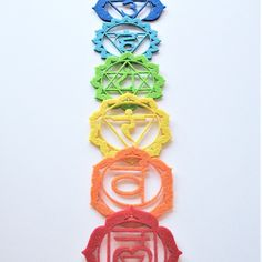 Available the felted #Chakras Set in seven colors: red, orange, yellow, green, turquoise, indigo & violet. You can hang them at home, on a doorknob,in the rearview mirror of car, as ornament on Christmas tree,or use them for your meditations or therapies