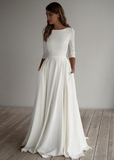 Romantic wedding dress adri minimalist dress long sleeves crepe dress romantic bridal chiffon dress elegant boat 15 simple and memorable makeup ideas you can rely on for parties ideas makeup memorable parties rely rusticweddingmakeup simple Top Wedding Dresses, Wedding Dress Chiffon, Wedding Dress Trends, Lace Wedding, Gown Wedding, Wedding Cakes, Wedding Rings, Simple Wedding Dress With Sleeves, Long Sleeved Wedding Dresses