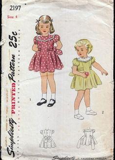 Vintage 1940s Girls Dress Full Skirt Yoke Simplicity 2197 size 4