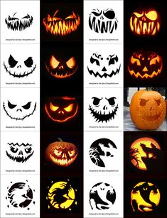 Free Printable Halloween Pumpkin Carving Stencils, Patterns, Designs, Faces & Ideas F. Scary Pumpkin Carving Patterns, Awesome Pumpkin Carvings, Halloween Pumpkin Carving Stencils, Disney Pumpkin Carving, Pumpkin Carving Templates, Halloween Tags, Scary Halloween Pumpkins, Scary Pumpkin Faces, Disney Pumpkin Stencils