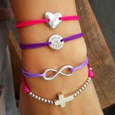 String bracelet with a silver latin cross charm and silver beads and Cord bracelet with sterling silver infinity charm