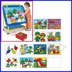 LAVAGNA MOSAICO SCHEDE BIFACCIALI    Un gioco che sviluppa la creatività e la manualità, particolarmente indicato per bambini dai 4 agli 8 anni di età anche per apprendere le prime nozioni di geometria.    SCHEDE BIFACCIALI PER LAVAGNA MOSAICO  SET 6 SCHEDE BIFACCIALI CON SOGGETTI ASSORTITI    Codice: 106.08939