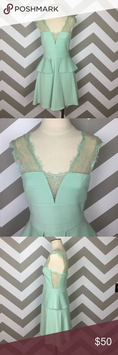 Mint Green Lace Leeann Peplum Dress 6 Adorable mint green dress, great for a party! Size 6 runs small in size. Excellent condition. Has been dry cleaned. BCBGMaxAzria Dresses