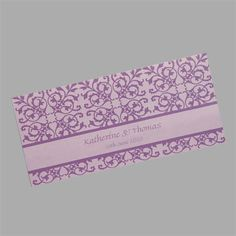 Lace wedding invitations. This design has a lace pattern printed on the outside and the wedding details printed on the inside. It is shown here printed in purple and lilac but is also available in many other colour combinations. www.kardella.com