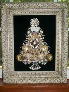 Vintage Rhinestone Jewelry Christmas Tree Art By Tami R Dean