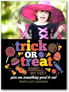 Celebrate Halloween with this sweet candy photo card for kids. Happy haunting!