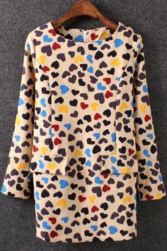 Multicolour Long Sleeve Geometric Print Loose Dress