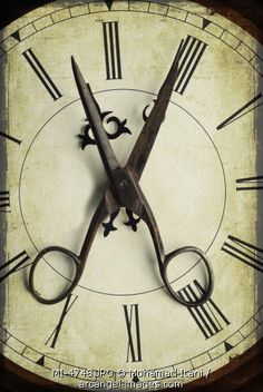Pair of scissors over an old wall clock