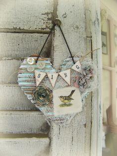 Handmade Heart Ornament Bird Ornament Vintage Bird by QueenBe