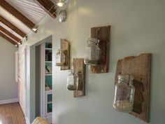Upcycle Mason Jars into Wall Art >> http://www.diynetwork.com/blog-cabin/blog-cabin-2013-media-room-pictures/pictures/index.html?soc=bc