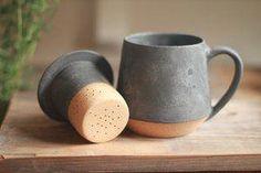 Great Snap Shots Ceramics pottery face Thoughts Image Of Matte Charcoal Mug Tea. - Great Snap Shots Ceramics pottery face Thoughts Image Of Matte Charcoal Mug Tea Infuser Set Throwi - Pottery Supplies, Pottery Classes, Ceramic Cups, Ceramic Pottery, Ceramics Pottery Mugs, Slab Pottery, Ceramic Art, Mugs Sharpie, Mug Diy