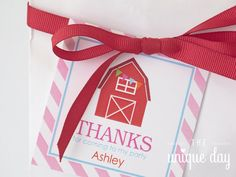 Printable Barn Favor Tags - Farm Thank you tags - Barnyard Birthday Party by theuniqueday