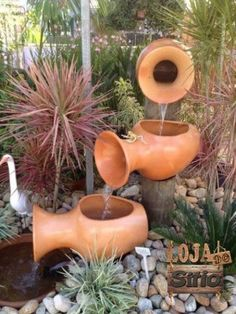 Jogo Vasos Fonte Cascata Enfeite decorativo Jardins. Altura:36 Largura:20 Peso:11.01