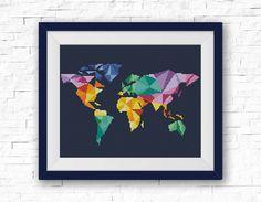 BOGO FREE Geometric Map Cross Stitch Pattern World par StitchLine