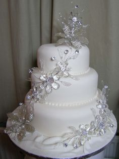 """If diamonds are a girl's best friend, then having a """"Bling"""" wedding cake is sure to make a bride who loves sparkle totally blis..."""