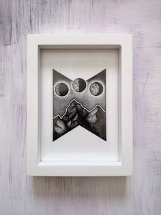 Stippled Mountains and Moons Print Moon Print, Stippling, Handmade Items, Handmade Gifts, I Am Happy, Really Cool Stuff, Craft Supplies, Balloons, Beautiful Pictures