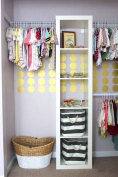 Great idea to separate clothing by 0-6 months, 6-12 months.