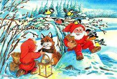 . Christmas Eve, Christmas Cards, Xmas, Old Postcards, Yule, Gnomes, Elves, Troll, Illustrators