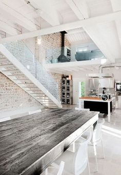 Love the grey timber table and white contrast