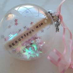 Pretty pink medium personalised baubles from www.facebook.com/LittleThingsByLauraJ