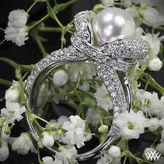 """ALL ABOUT HONEYMOONS & DESTINATION WEDDINGS   Join our Facebook page!  https://www.facebook.com/AAHsf    """"Gaia"""" Pearl and Diamond Ring 