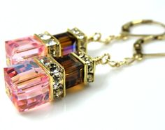 Pink Chocolate Crystal Earrings Long Dangle Gold by fineheart, $42.00