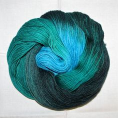 Hand dyed superwash sock yarn GREEN WATERS by vieuxrouet on Etsy