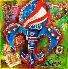 Red,White & Blue De LIs : Mixed Media for GCCA 2013-https://www.etsy.com/shop/ErikaJohnsonGallery-www.erikajohnsoncreations.com-Fluer De Lis-Mississippi Artist Erika Johnson-Mardi Gras