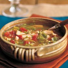 Spicy Chicken Soup | If you like a little kick to your dish, this Spicy Chicken Soup is for you! Rely on convenience items such as chopped cooked chicken, canned chicken broth and canned veggies to make this super-quick soup. Baked tortilla chips and a garden salad are excellent accompaniments.