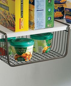 Under-Shelf Basket // I NEED a few of these in my kitchen pantry! Such a good idea! #product_design #organization