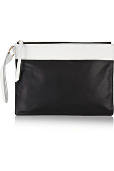 NewbarK Two-tone leather and textured-leather clutch | NET-A-PORTER $440.00