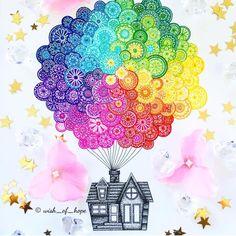 Mandala balloon house etsy 31 ideas for doodle art ideas draw zentangle patterns characterart artgirl Doodle Art Drawing, Zentangle Drawings, Mandala Drawing, Zentangles, Zendoodle, Watercolor Mandala, Mandalas Painting, Mandala Artwork, Mandala Design