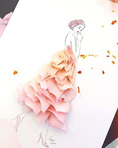 Floral dresses fashion illustrations by grace ciao Fashion Illustration Dresses, Fashion Sketches, Fashion Illustrations, 3d Fashion, Floral Fashion, Flower Petals, Flower Art, Grace Ciao, Digital Draw